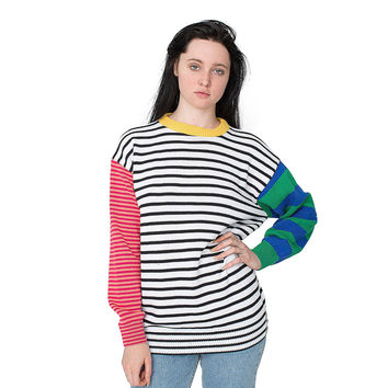 American Apparel Women's Recycled Cotton Mixed Stripe Pullover | Overstock.com Shopping - The Best Deals on Long Sleeve Sweaters