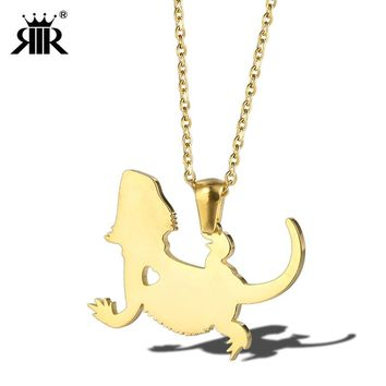 RIR Delicate Petite Bearded Dragon Pendant Necklace Tiny Cute Glow Fly Dragon Choker Necklaces Men Women
