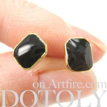 Classic Rectangular Stud Earrings in Black on Gold | DOTOLY