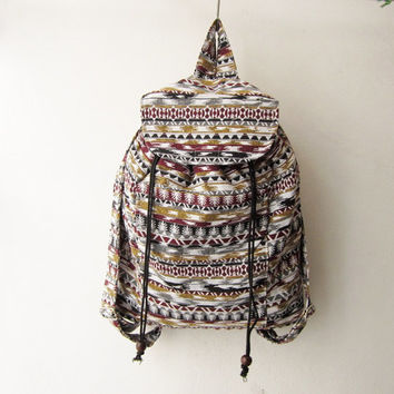 boho tribal backpack, bohemian rucksack, aztec backpack,native american indian bag, hipster backpack, hippie boho  bag