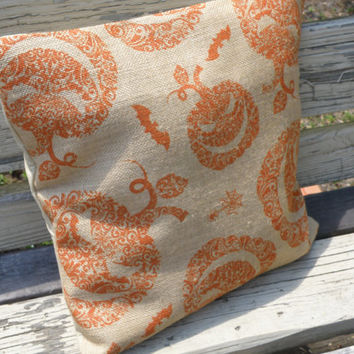 New Pillow Pillow Cover Fall Halloween Burlap Muslin 18 X 18 Home Decor Orange Tea Stained