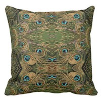 Stylized Peacock Feathers Throw Pillow