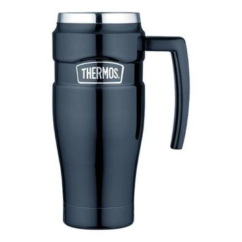 Thermos Stainless King&trade Vacuum Insulated Travel Mug - 16 oz - Stainless Steel/Midnight Blue