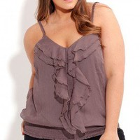Plus Size Frilly Strappy Top - City Chic - City Chic