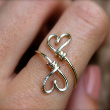 Double heart ring silver wire wrapped ring, cute love simple wire ring
