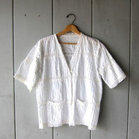 Vintage White Laced Blouse Short Sleeve Shirt Cotton Textured Top Edwardian Button Up White Vneck with Pockets Boho Womens Medium Large