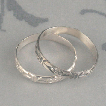 Romance in the Garden--Sterling Silver Wedding Band or Thin Silver Patterned Stacking Ring--Made in YOUR size