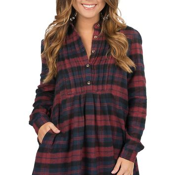 Karlie Women's Burgundy & Navy Plaid Pleated Front Long Sleeve Flannel Tunic / Dress