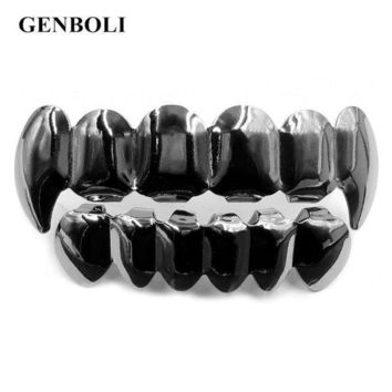 ac PEAPO2Q Hot! Metal Hip Hop Grillz Braces Top & Bottom Teeth Grill Bling Teeth Silicone Set Christmas Jewelry Party Gift+