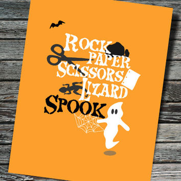 Rock Paper Scissors Lizard Spook Nerdy Halloween Card | Big Bang Theory | Physics, Biology, Chemistry, Student, Teacher, Professor
