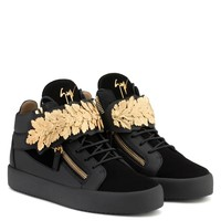 Giuseppe Zanotti Gz Leaf Black Calf Leather And Black Suede Mid-top With Gold Leaves - Best Deal Online