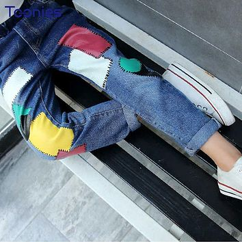Spring Autumn Children Jeans 2018 Newest Boys and Girls Pants Fashion Trend Patchwork Children Jeans Casual Pant Denim Trousers