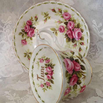 Royal Albert June Roses Teacup and Saucer Near Mint Set Bone China England 1970s Flower of the Month Series