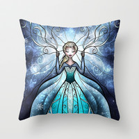 The Snow Queen Throw Pillow by Mandie Manzano | Society6