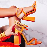 Fashion's new monochrome strappy sandals with chunky heels and high heels