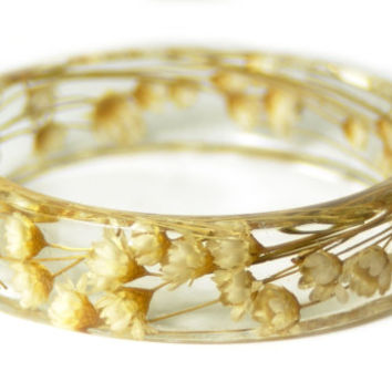 Flower Jewelry- Real Flower Bangle- Real Flower Resin Jewelry - Jewelry made with Flowers- White Flower Bracelet