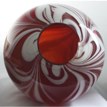 Transparent Closed Red Bowl with Opaque White Swirls, Hand Blown Glass Bowl - Free Shipping