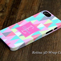 Triangle Geometric Custom Monogram 3D-Wrap iPhone 5S Case iPhone 5 Case iPhone 5C Case iPhone 4S Case iPhone 4 Case