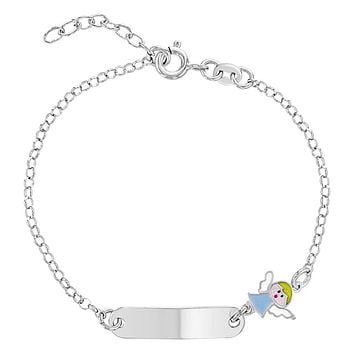 """925 Sterling Silver Religious Guardian Angel Tag ID Bracelet Baby Infant Boy 6"""""""