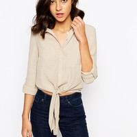 Warehouse Tie Front Shirt