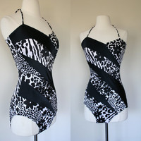1980's black floral animal print swimsuit, Robby Len, size 8, one piece, 80's does 50's, bombshell, molded padded bra, color block, halter