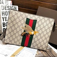 GUCCI New Fashion Embroidery Bee More Letter Print Leather Cosmetic Bag File Package Khaki