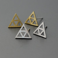 Trifroce Silver studs earrings, Triangle earrings, Pyramid earrings, Brushed Silver Post Earrings  - Available color ( Silver, Gold )