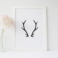 ANTLERS,Watercolor Antlers,Deer Antlers,Deer Poster,Deer Digital Art,Printable Art,Antlers Digital Art,Black And White,Watercolor Art