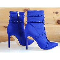 So Me Billie Blue Pointy Toe High Heel Ankle Boot Cage Studded Straps