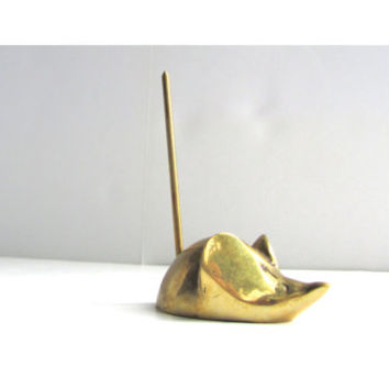 Vintage Brass Mouse Desk Accessory Memo Holder
