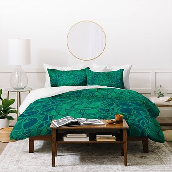 Karen Harris Carillon Peacock Emerald Duvet Cover