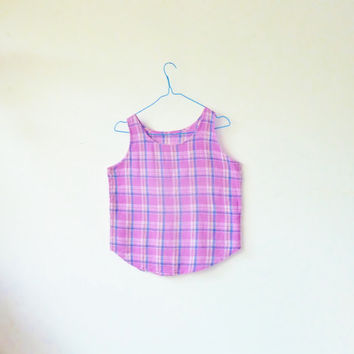 80s vintage PICNIC plaid tank top . BERRY check vest . check pattern . small . medium , festival