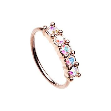 Rose Gold Iridescent Seamless Prong Set 5 Gem Bendable WildKlass Nose Hoop