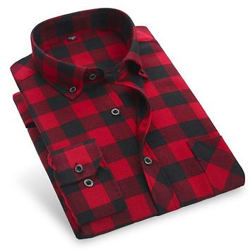2018 Autumn Men Plaid Casual Shirts Brand Flannel Warm Clothing Button-Down Collar Long Sleeve Thick Red Men Dress Shirts