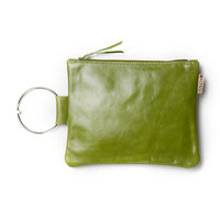 Leather clutch bag - Olive Green purse - Leather wristlet - Evening bag - Metal ring in Nickel color