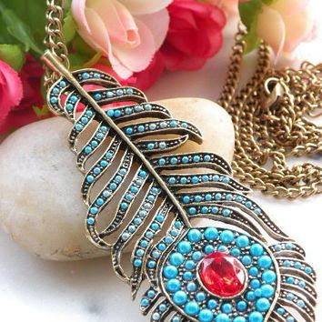 Pretty retro copper red crystal blue feather by toofashion2010