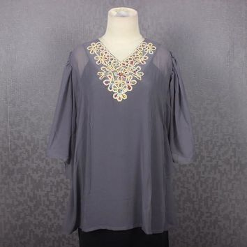 Chiffon Embroidery Blouse Tops Namee Kaftan Grey Caftan Dress