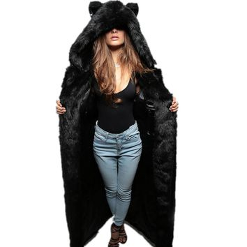 Fall winter bear ear hooded faux fur slit back jacket coat outerwear for women black long maxi artificial mink fur coats outfits
