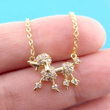 Rhinestone French Poodle Dog Shaped Pendant Necklace in Gold