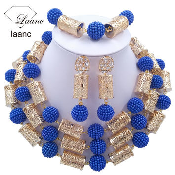 laanc Chunky Royal Blue Plastic Pearl  nigerian wedding african beads jewelry set Gold Colors Metal Tube  C2051