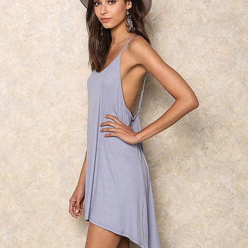 Blue Ribbed Hi-Lo Dress