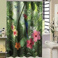 Forest Oil Painting Shower Curtain Woodland Bathroom Parrot Shower Curtain By Collections Parrot Shower Curtain 72x72-inch Shower Curtain Polyester Fabric Material (Size: 200cm by 180cm, Color: Multicolor)