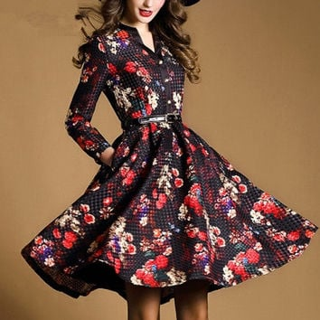 New Spring Women Dress 2016 Europe Fashion Plus Size Slim Printing A-Line Pockets Vintage Dresses Long Sleeve Women Dress S20266