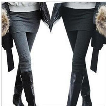 One Piece Women Skirt Leggings Autumn Fashion Solid Footless Legging Skirt With Pants