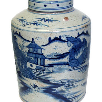 """Vintage Style Blue and White Blue Willow Porcelain Tea Caddy Jar 16"""""""