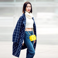 Plaid Blue Open Front Coat