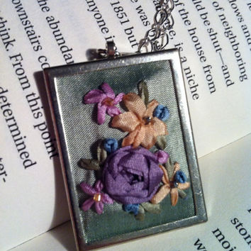 Pastel Embroidered Rose Pendant Beaded  Silk by BeanTownEmbroidery