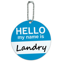 Landry Hello My Name Is Round ID Card Luggage Tag