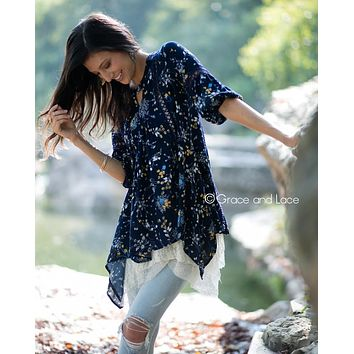 Grace and Lace  Peasant Tunic in Navy Floral™
