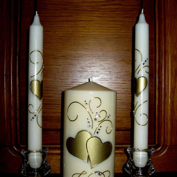 "Wedding Unity Candles ""I Do"" Handmade, Hand Decorated , Pillar Candle, Taper Candles, Personalized Candles, Unity Candle Set, Candle Sets"